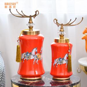 European American style orange ceramic home decoration decoration living room entrance jewelry TV cabinet crafts