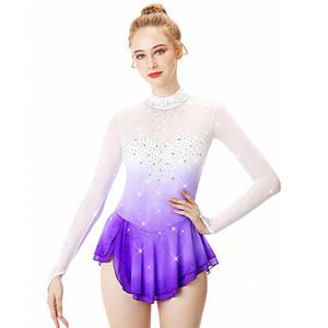 desgaste Ice Skating Vestido Spandex alta elasticidade competição de patinação artística vestido Girls' manga comprida Ice Skating Vestido