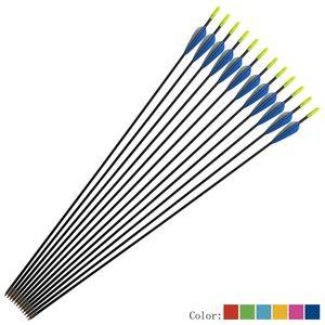 In fibra di vetro Formazione Arrow Arrow Bow 6 millimetri Curva Tiro con l'arco e la pratica caccia esterna diritta Combinazione Multicolor Lbtwk