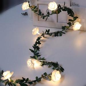 10/20 / 40leds flor de Rose llevó boda Powered secuencia de hadas luces de la batería tarjeta del día de fiesta del acontecimiento Garland Decor Luminaria