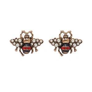 Vintage bee Stud Earring cute Pearl Rhinestone Cute Bee Earring Gift for Love Fashion Jewelry Accessories