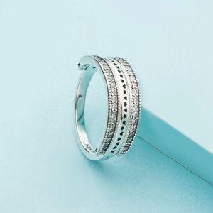 anillo de corazón elegante y encantador para Pandora de plata de ley 925 con el diamante de la CZ flip damas de alta calidad anillo con la caja original