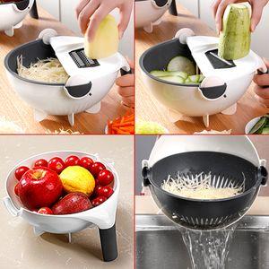 9 in 1 Multifunktionale Gemüsehobel Haushalts potato Slicer manuelle Chip Slicer radish Reibe Küchenwerkzeug Gemüseschneider Siebkorb