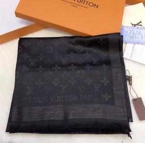 Los mejores diseñadores de las mujeres de alta calidad de seda pura bufanda suave Lamé Bufanda de lujo largo clásico raya impreso mantón al por mayor de 180x70