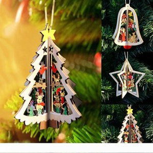 B Christmas Tree Ornaments Hanging Xmas Tree Home Party Decor 3D Pendants High Quality Wooden Pendant Decoration Hanging Ornament