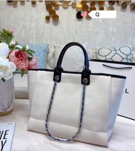 السيدات 2020 تصميم أحادية اللون بحروف مطرزة تسوق حجم حقيبة جلدية سلسلة حقيبة عبر الجسم حقيبة الشاطئ 38 30CM *