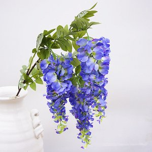 Tallo largo 3 cabezas Artificial Wisteria flores rama para el banquete de boda decoración de seda + plástico flores de ratán jardín decoración corona