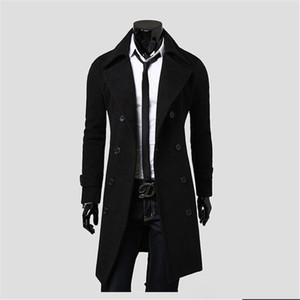 Mantel-Mann-Winter-lange Mantel-dünne stilvolle Graben zweireihiger Long Jacket Parka Mens Overcoat JK2132