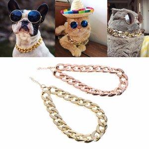 패션 애완 동물 개 목걸이 목걸이 두꺼운 골드 체인 도금 플라스틱 확인 된 안전 칼라 강아지 개는 36cm / 45cm C42 공급