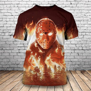 New Summer T-shirts Halloween Horror Michael Myers 3D Imprimé Hauts pour hommes Vêtements unique à manches courtes T-shirt Drop Shipping