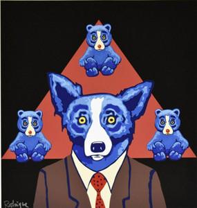 Blue Dog xa021 # George Rodrigue tem uma semelhança Home Decor Artesanato / HD impressão pintura a óleo sobre tela Wall Art Canvas Pictures 200111