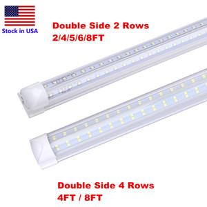 8FOOT Cooler Door LED 4 Rows 120W Integrated Tube 4FT 8FT T8 LED Tube Light V Shape Fluorescent Shop Lights Warehouse Lighting