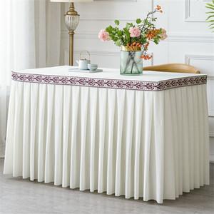 Plisada franela Hotel Table falda para la cubierta del paño Partido decoración de la boda banquete de una pieza tabla que bordean la falda