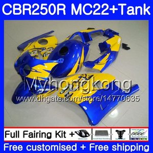 HONDA CBR 250RR CBR250RR Enjeksiyon + Tankı 90 91 92 93 94 263HM.20 MC22 CBR 250 CBR250 RR mavi sarı üst 1990 1991 1992 1993 1994 Fairing