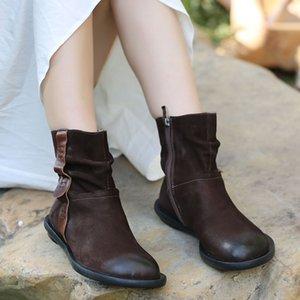 VALLU 2020 originales hechos a mano de cuero de las mujeres calza botas casuales botas de cuero cómodo británica planas