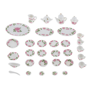 27 Pieces 12th Dollhouse Ceramic Floral Tableware Tea Coffee Set Kitchen Accessories Kids Pretend Play Toys, 2 Styles