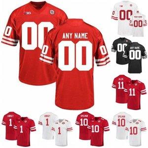 Özel Nebraska Cornhuskers 2019 Futbol Herhangi İsim Numara Siyah Kırmızı Beyaz 2 Adrian Martinez 10 JD Spielman Frost Huskers Erkekler Gençlik Jersey 4X