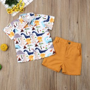 2019 Brand Lovely Kids Baby Boys Summer Cartoon Dinasour Print Tops Shirt Solid Pants Shorts Outfit New 2Pcs Party Clothes Set