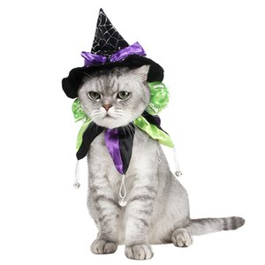 Funny Cat Costume Halloween Wizard Hat Disguise Accessories For Cats Christmas New Year Suit For Small Dogs Pet Photo Props