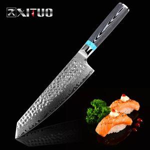 """Дамасский нож 8 """" дюймовый VG10 лезвие дамасской стали нож 67 слоев японский шеф-повар Сантоку Кливер мясной нож подарок"""