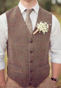 En stock 2019 País Marrón Chalecos de novio para la boda Lana de espiga Tweed por encargo Slim Fit Mens Suit Chaleco Granja Vestido de fiesta Chaleco