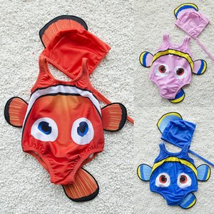 Marca 2PCS Crianças Baby Girl Swimming Suit Goldfish Swimwear swimmable Costume + Piscina Hat Beachwear férias 2pcs Set
