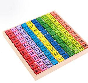 Tabla de multiplicar Juguetes matemáticos 10x10 Patrón de doble cara Tablero impreso Figura de madera colorida Bloque Niños Artículos de novedad