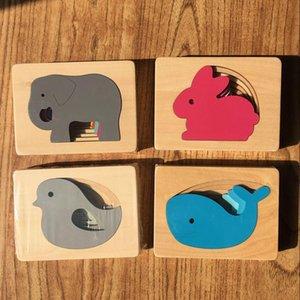 Candywood crianças brinquedos de madeira para Puzzle Crianças animal Carton 3D Multilayer quebra-cabeças Brinquedos Bebê da Primeira Infância Aids Educacional