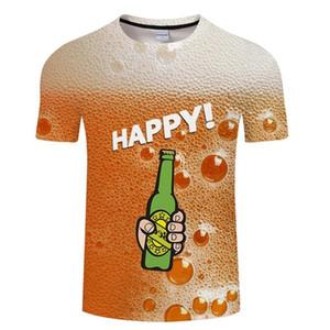 Bière jaune T-shirt Homme Femme drôle 3d T-shirts d'été Hip Hop ras du cou à manches courtes T-shirt heureux Vive la bière 4XL
