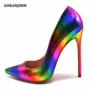 Free shipping AORANJMM real pic colorful rainbow printed pointed toe woman lady female 12cm 10.5cm 8cm high heel shoes pump CJ191217