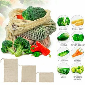2019 Nuovo cotone Mesh Bag Shopping Verdure Frutta Shopping Grocery Bag storage coulisse riutilizzabile