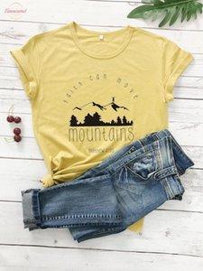 Faith Short Can Move Mountains T Shirt Casual Faith Over Fear Christian Tee Bible Verse Slogan Religious Clothing Top Slogan Camisetas