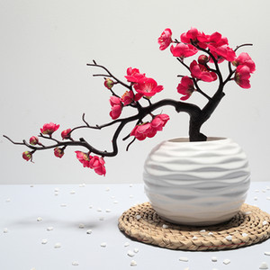 Plum Blossom Artificial Flowers High Quality Branch 1Pcs Fake Flowers Burgundy Decorations for Home Flores Para Manualidades