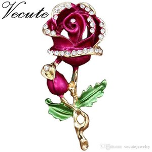 Gold Plated Decorative Love Rose Brooch Pin Garment Clothes Accessories Jewelry Flower Brooch for Women Ladies Free Shipping
