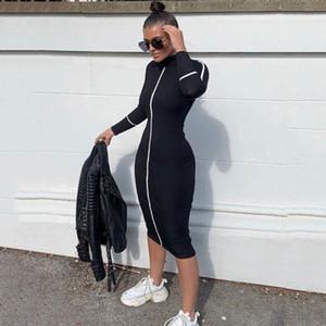 Mujeres diseñador Bodycon Vestidos Soporte Collar de manga larga Mid Calf Ropa Para Mujer Verano Otoño Casual Ropa Casual