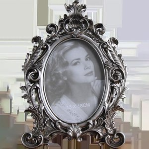 Retro Elliptical Photo Frame 6 7 8 Inch Resin Desktop Picture Frame Wedding Party Family Home Decoration Ornaments Crafts Gift