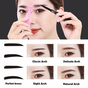 Alta Qualidade 4 Peças Reutilizáveis Modelo Sobrancelha Modelo Sobrancelha Shaper Definindo Stencils Maquiagem Ferramentas Tslm2