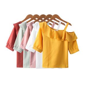 Shintimes Seksi Kapalı Omuz En Kısa Kollu Şifon Kadınlar Bluzlar fırfır Beyaz Gömlek blusas Femininas 2020 Yaz Kadın Giyim
