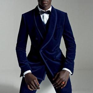Kraliyet Mavi Kadife Erkekler Çift Breasted Üç Parçalı Düğün smokin 2019 Son Erkekler Düğün Suit Suits