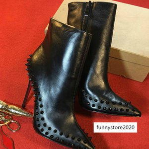 Women designer black high heels Ankle Boot Red bottom spikes platform fashion boots 100% leather Snake skin Winter shoes r8