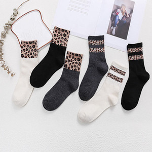 Leopard Socks Women Cotton Printing Stitching Elasticity Socks European And American Style Cosy Mid Female