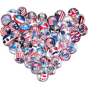 Bandeira americana de luxo Designer Jóias Pulseira snap Jóia da bandeira dos EUA 100pcs Mixed / lot 18 milímetros snap Jóias 18mm Snaps Botões 18mm botão Snap