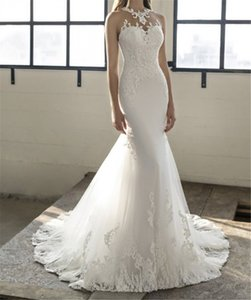 Sheer Mermaid Lace Appliques Wedding Dresses Sleeveless Custom Made With Buttons Back Bridal Gowns Sleeveless Robe De Mariee Spring