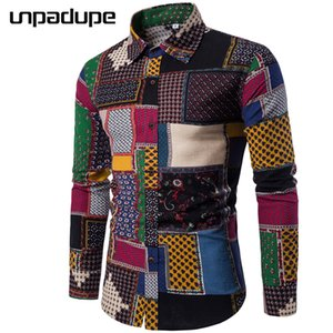 Unpadupe Brand-clothing 2018 Moda Camicia maschile Flax Dress Camicie Slim Fit Turn-down Uomo Manica lunga Uomo Camicia hawaiana Large Y190506