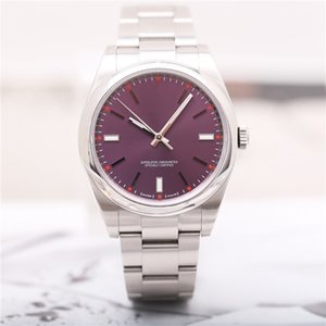 High quality Asian watch 2813 sports automatic mechanical men's watch 114300 model 39mm red grape dial stainless steel strap sapphire glass