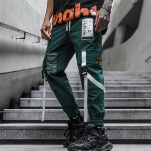 Erkek Pantolon Erkekler Kurdela Patchwork Kargo Hip Hop Streetwear Joggers Adam Siyah Yeşil Harajuku Punk Sweatpants Rahat Pantolon