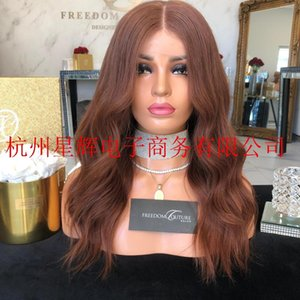 European and American Fashion Mid-Volume Dark Brown Mid-Length Curly Hair Half-Hand Hook Front Lace Chemical Fiber Wig Female Headgear Whole