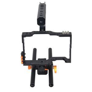 DSLR Rod Rig Camera Video Holder Mount Stabilizer Cage + ручка для Sony A7 A7R A7S-черный+оранжевый