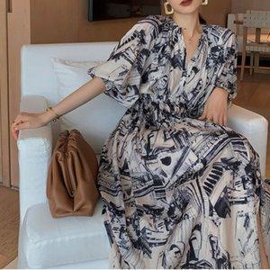 20200706 Printed V-neck oil painting splash dress women's long waist back retro floral skirt