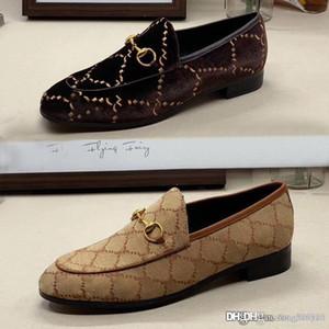 Designer Uomini piatto scarpe casual vacchetta autentica fibbia di lusso donne di velluto vestito di cuoio scarpe metallo Travolgere pigro dimensioni scarpe da barca 34-46 42